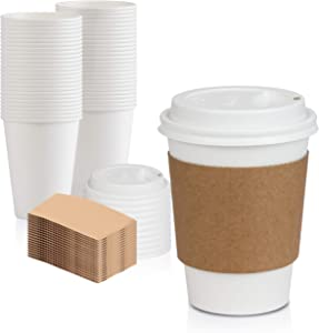 [50 Pack] White Coffee Cups with White Dome Lids and Brown Sleeves - 12oz Disposable Paper Coffee Cups - To Go Cups for Hot Chocolate, Tea, and Other Drinks - Ideal for Cafes, Bistros, and Businesses