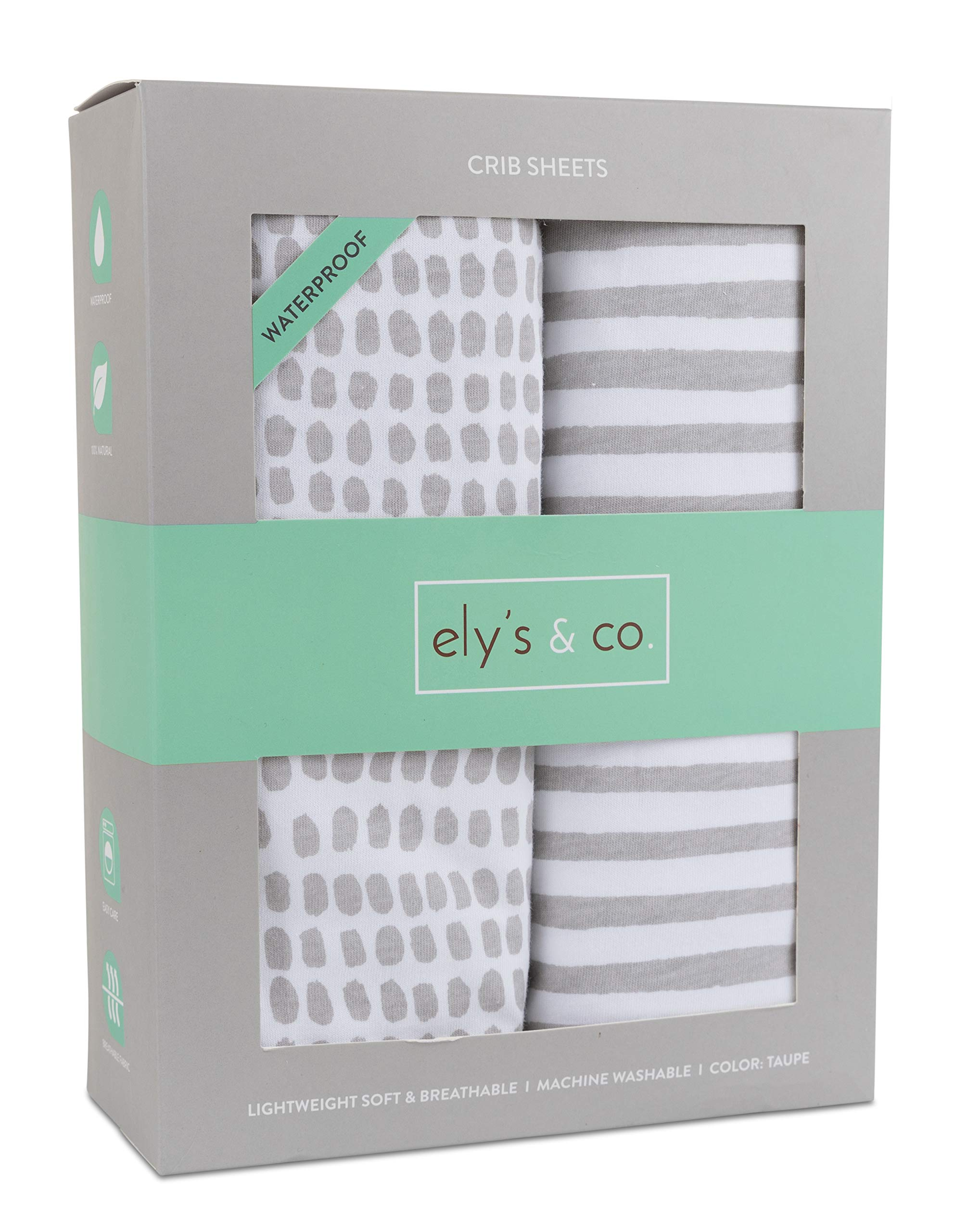 Waterproof Crib Sheet | Toddler Sheet no Need for Crib Mattress Pad Cover or Protector I Taupe Splash and Stripes by Ely's & Co. by Ely's & Co.