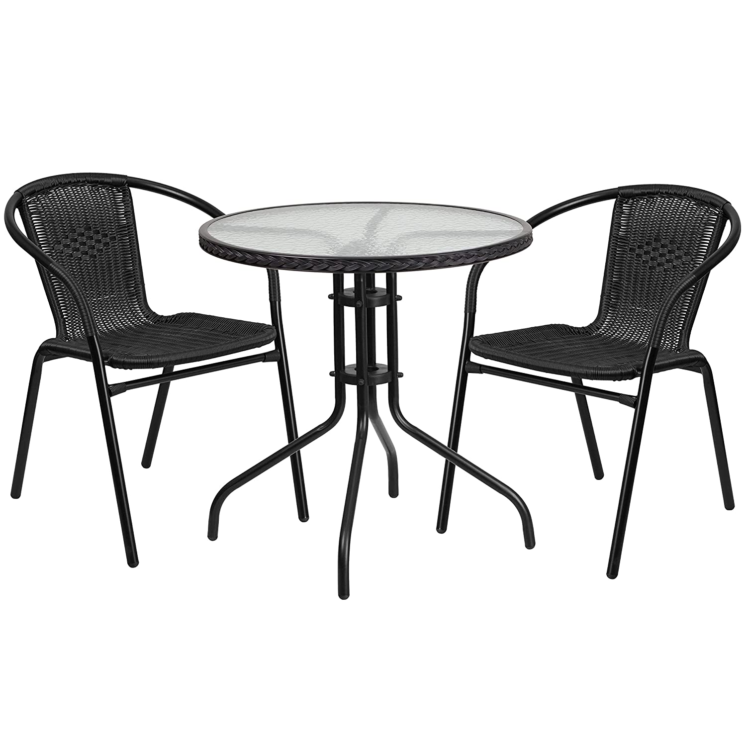 "Flash Furniture TLH-087RD-037BK2-GG Tlh-087Rd-037Bk2-Gg Round Glass Metal Table WithRattan Edging And 2Rattan Stack Chairs, 28"", Black"
