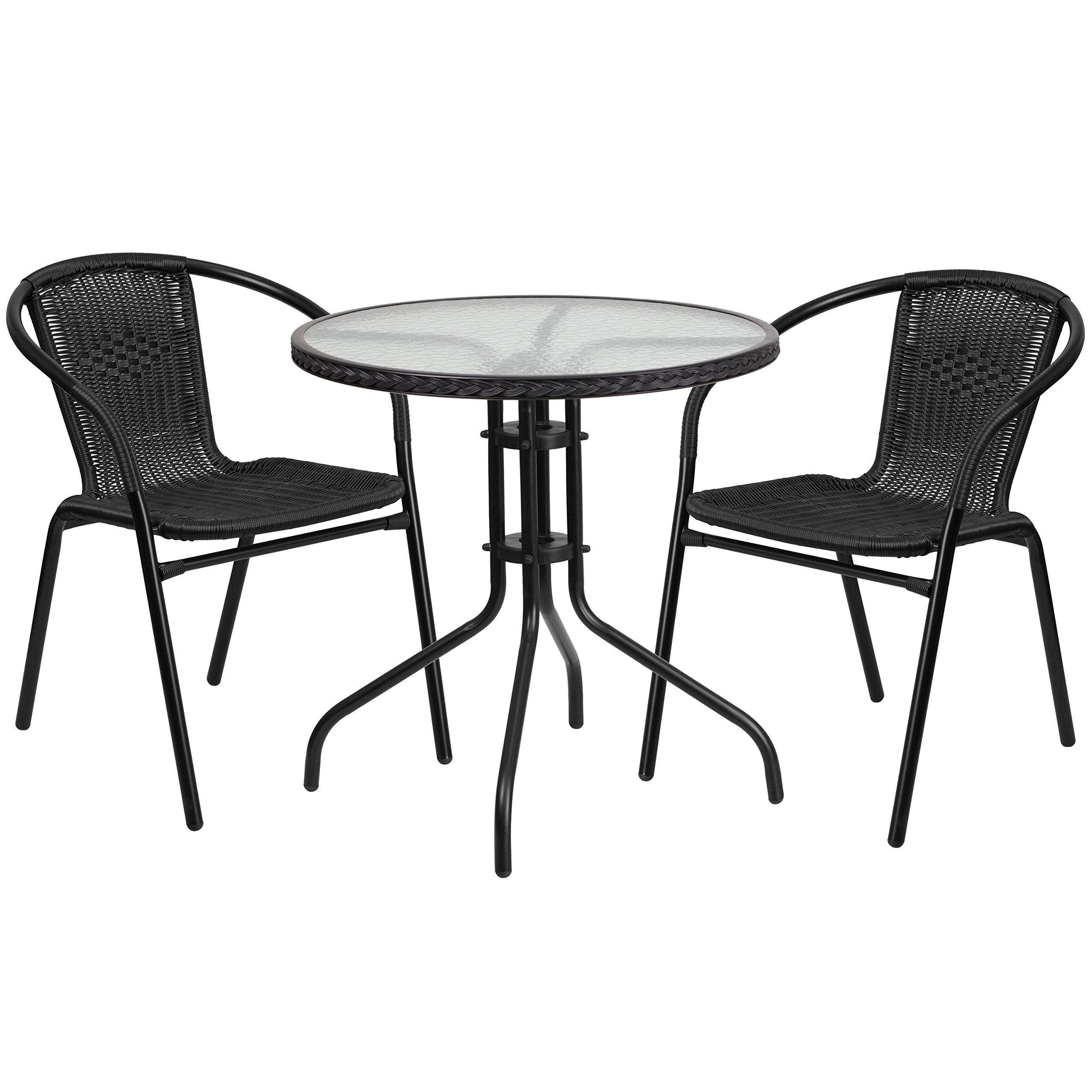 Flash Furniture TLH-087RD-037BK2-GG Tlh-087Rd-037Bk2-Gg Round Glass Metal Table With  Rattan Edging And 2  Rattan Stack Chairs, 28'', Black
