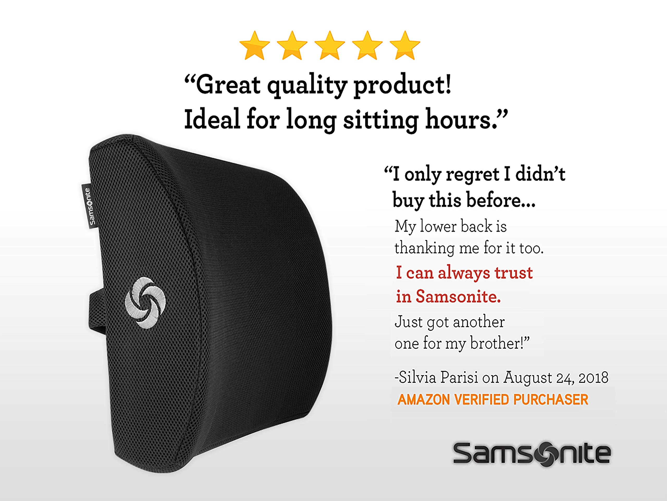Samsonite SA5243 - Ergonomic Lumbar Support Pillow - Helps Relieve Lower Back Pain - 100% Pure Memory Foam - Improves Posture - Fits Most Seats - Breathable Mesh - Washable Cover - Adjustable Strap by Samsonite (Image #7)