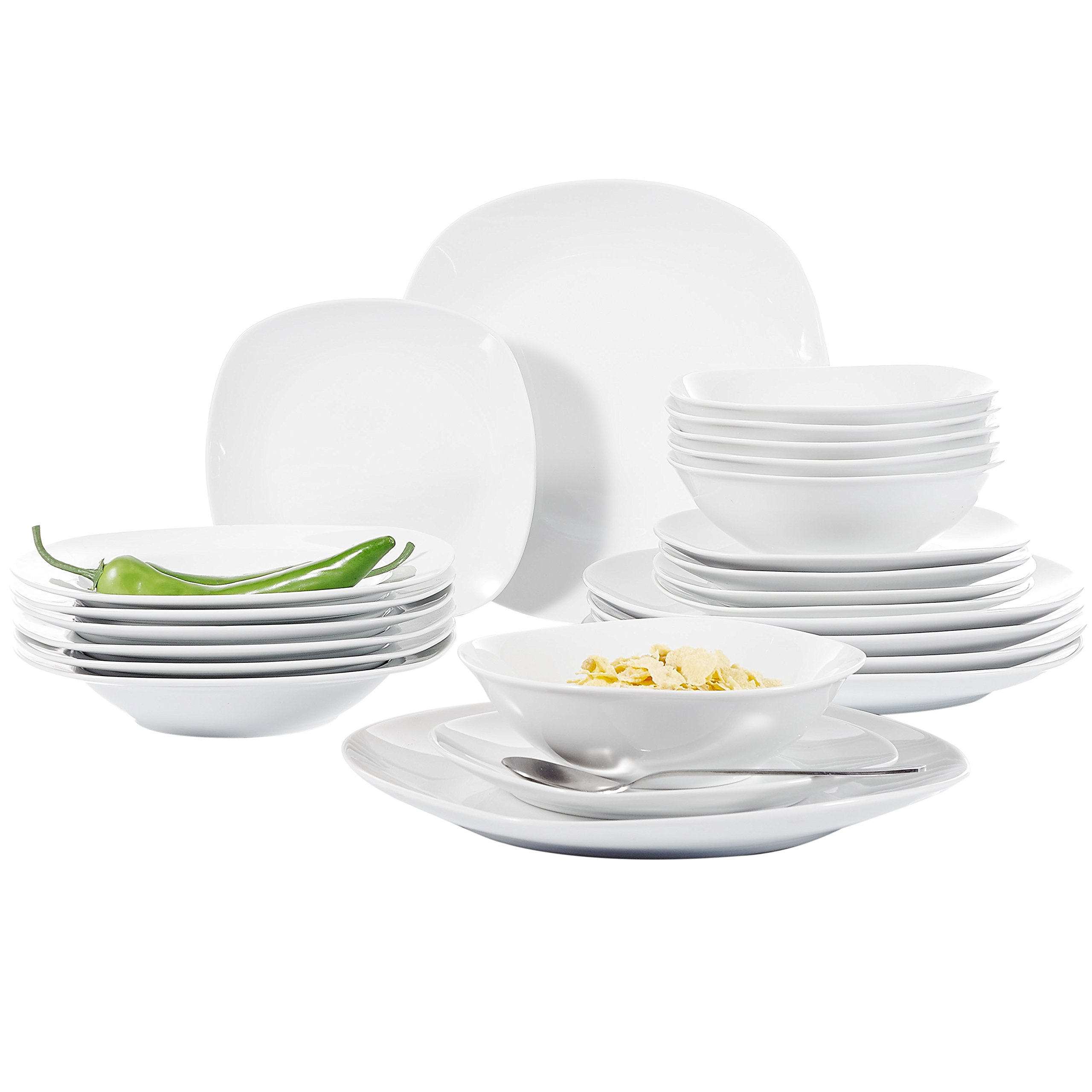 Malacasa, Series Elisa, 24-Piece Ivory White Porcelain Dinnerware Sets of 9.75'' Dinner Plate, 8.5'' Soup Plate, 7.5'' Dessert Plates and 6.7'' Bowl Set Service for 6