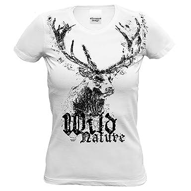 f9b824dc2b Soreso Design Trachten Damen T-Shirt Hirsch : Trachtenshirt für Oktoberfest  Volksfest Mädchen und Frauen : Wild Nature Farbe: Weiss: Amazon.de:  Bekleidung