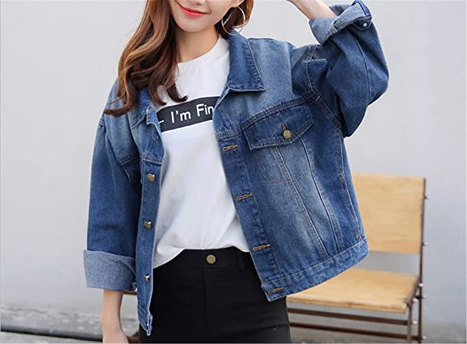 NENGWENWU Women Embroidery Patch Designs Denim Coats With ...