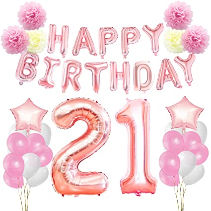 KUNGYO 21st 12TH Birthday Decorations Kit Rose Gold Happy Banner Giant Number