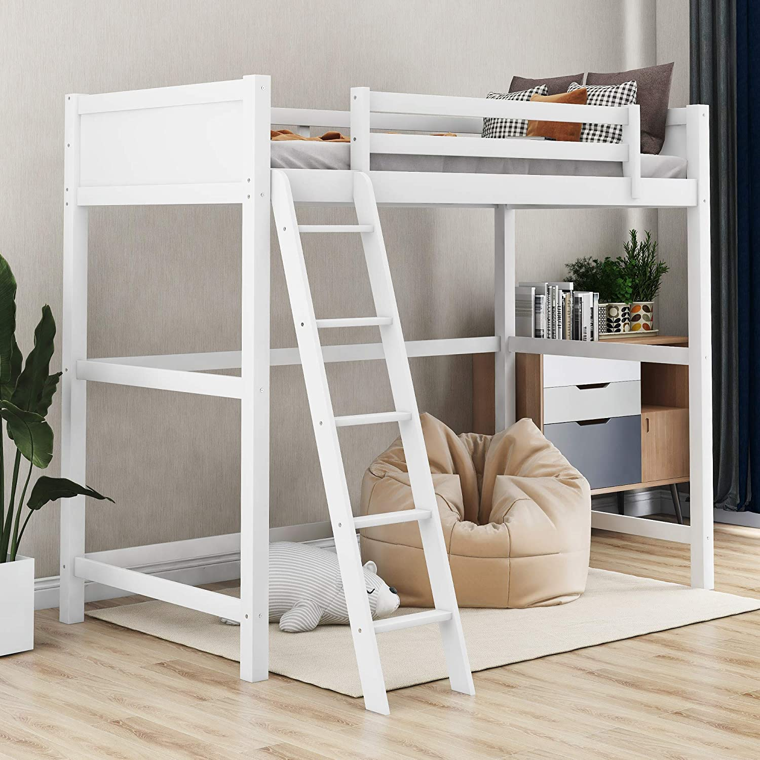 Amazon.com: Harper&Bright Designs Solid Wood Loft Bed,Side Angled Ladder (White): Kitchen & Dining