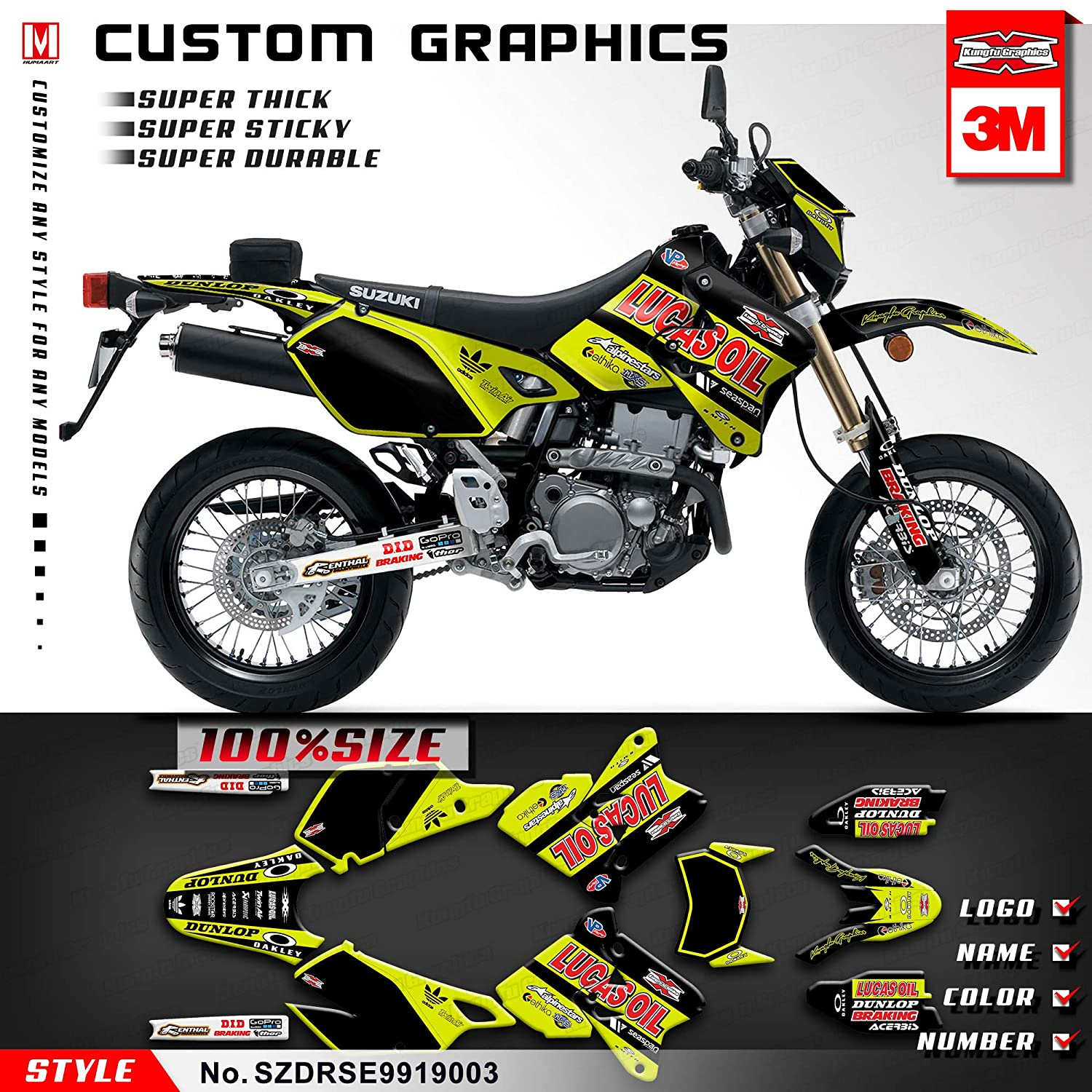 Kungfu Graphics Lucas Oil Custom Decal Kit for Suzuki DRZ400SM Supermoto 1999 2000 2001 2002 2003 2004 2005 2006 2007 2008 2009 2010 2011 2012 2013 2014 2015 2016 2017 2018 2019 Yellow