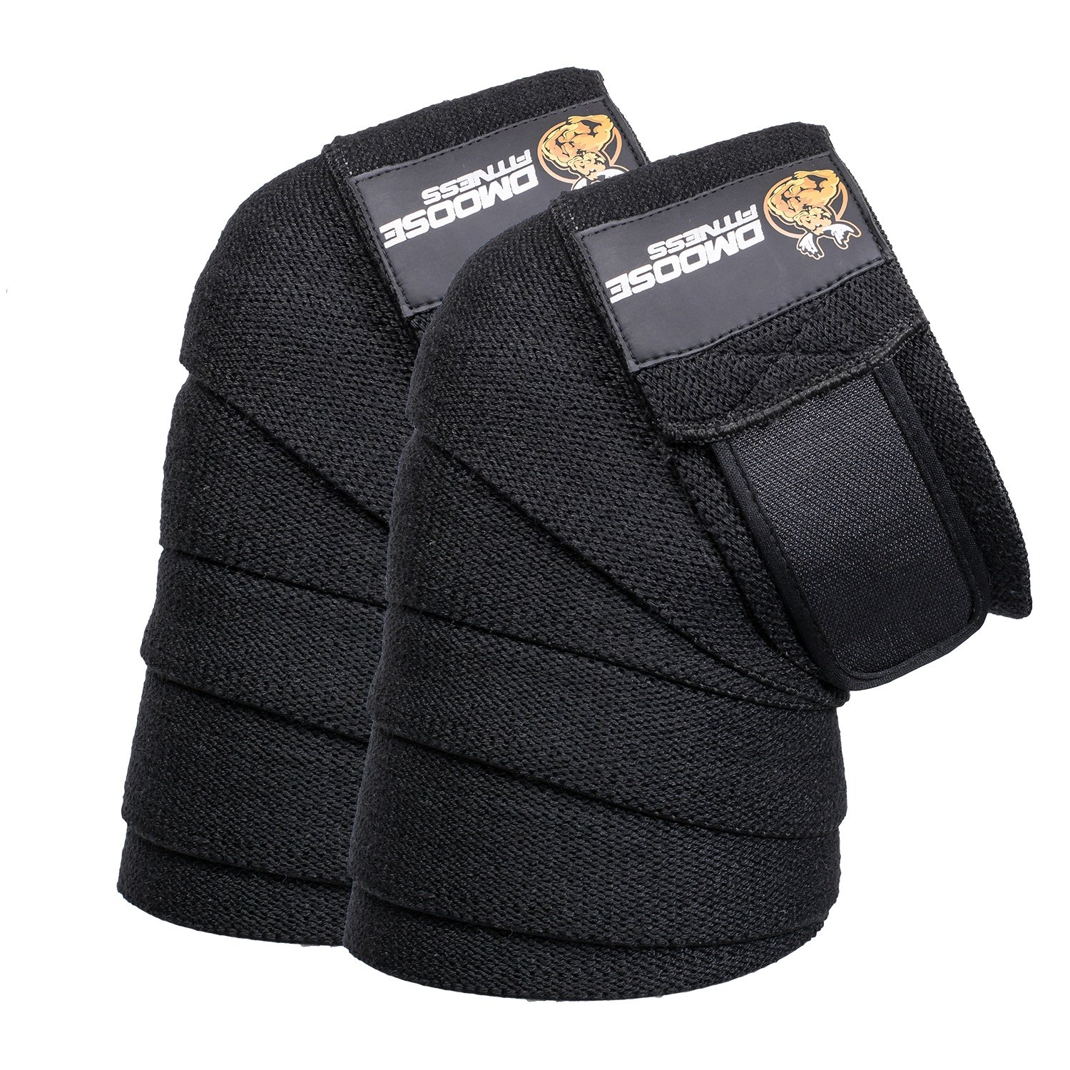 DMoose Fitness Knee Wraps - Strong Fastening Straps, Durable Stitching - Heavy Duty 78'' Elastic Compression Knee Straps to Enhance Your Powerlifting. ...