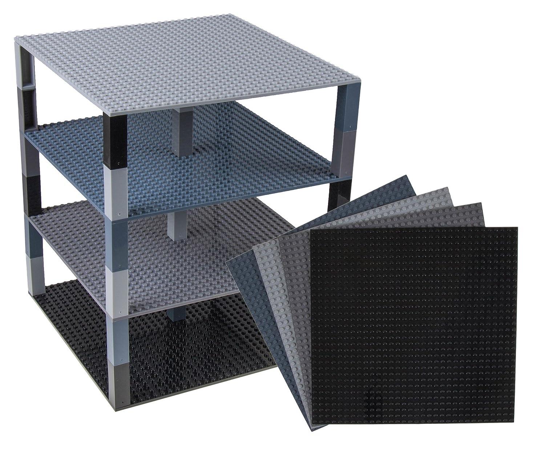 クラシックベースプレート 25.4㎝x25.4㎝、32 x 32 ペグブリックタワー by Strictly Briks / ストリクトリーブリックス の製品と タワーやその他たくさんのものが組み立てられるビルディングブリック スタッカブルベースプレート4枚 & スタッカー30個ーブラック、グレー  ブラック、グレー B01M1VMUHR