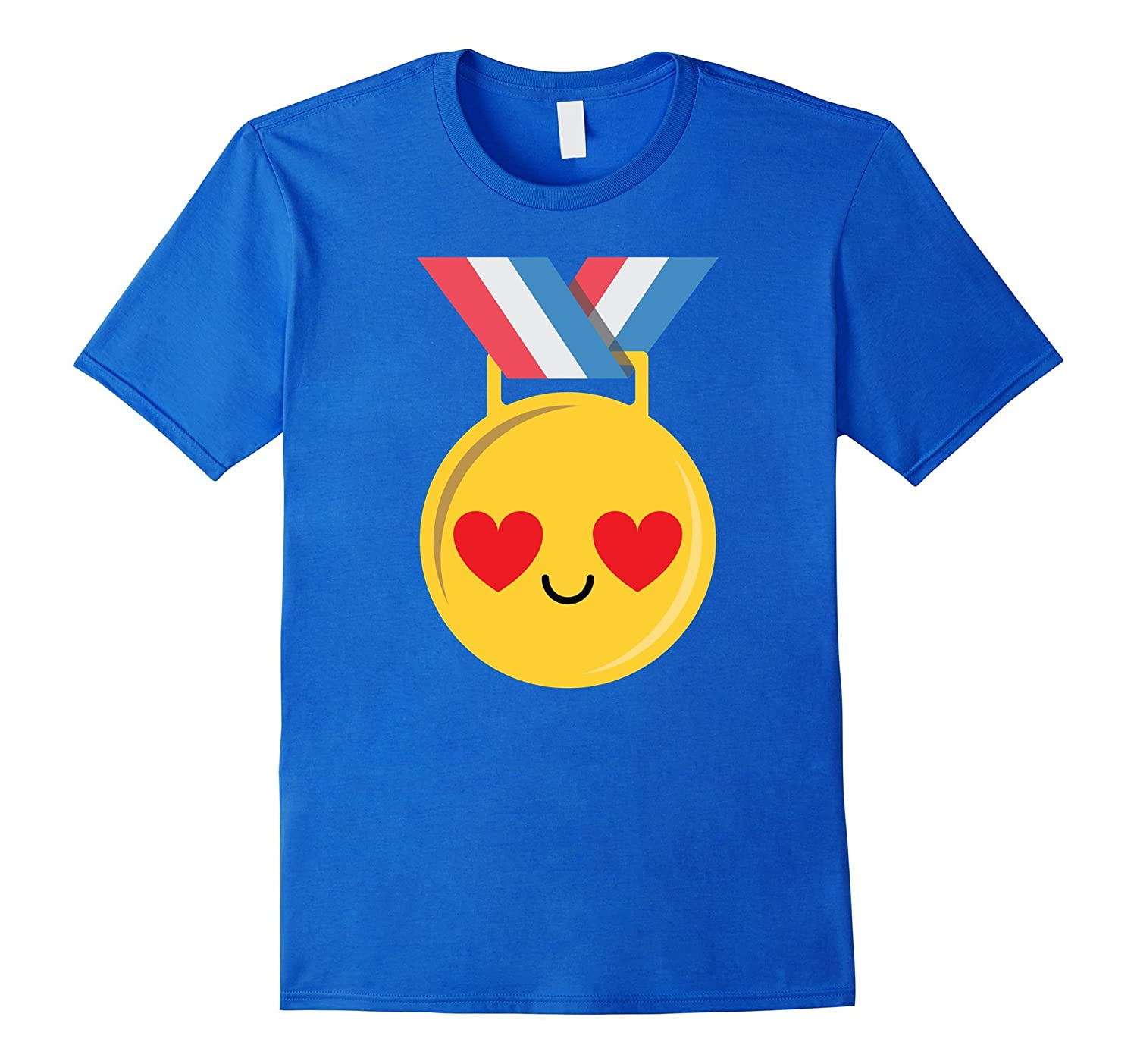 Gold Medal Emoji Heart Eye Shirt T-Shirt Congratulation Tee