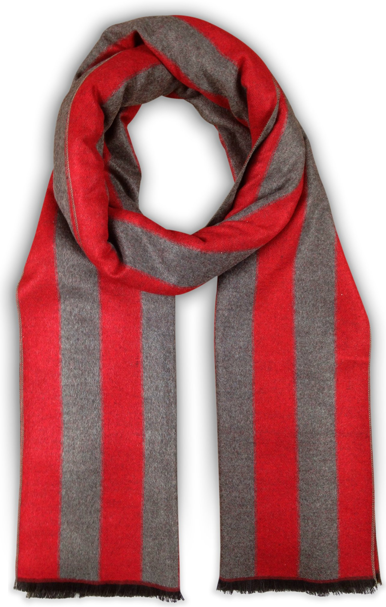 Bleu Nero Luxurious Winter Scarf for Men and Women – Large Selection of Unique Design Scarves – Super Soft Premium Cashmere Feel (Red/Grey Thick Vertical Stripes)