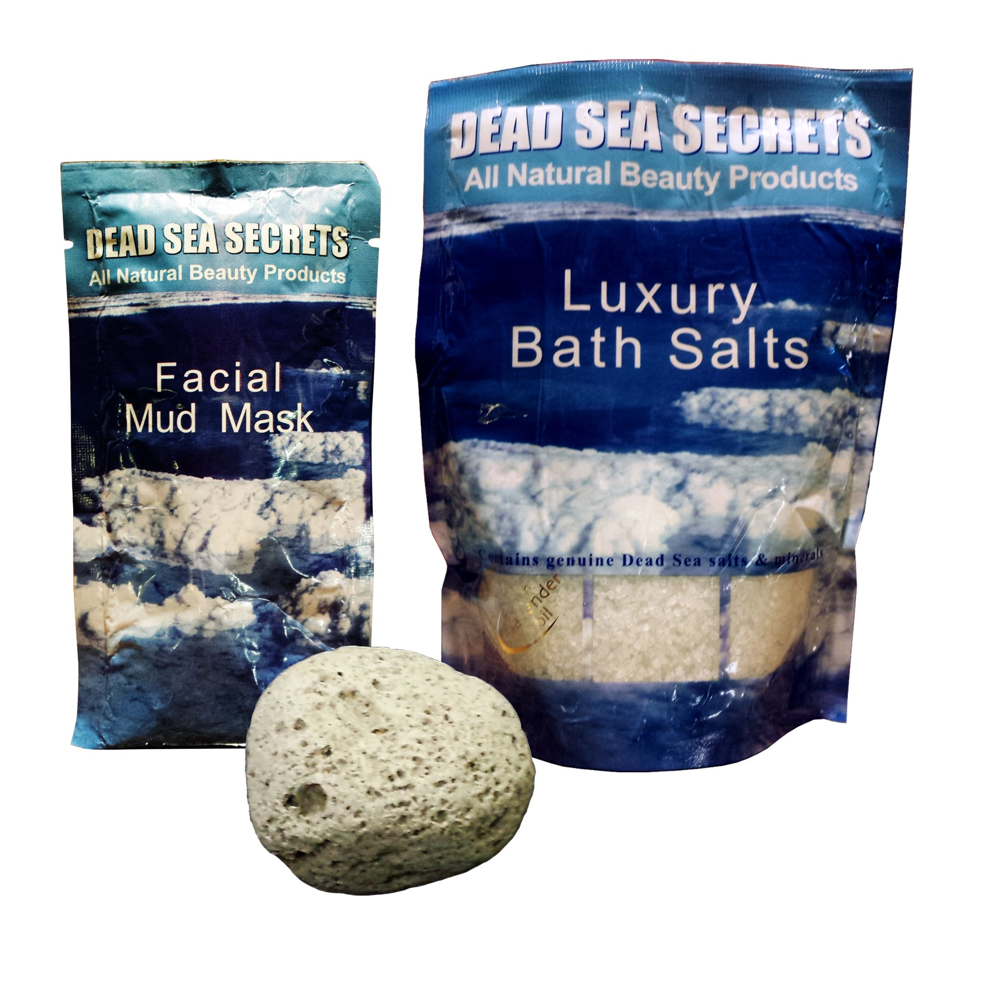 Premier Dead Sea Salt Foot Soak from Israel, Plus All Natural Volcanic Pumice Stone, Plus Special Bonus Dead Sea Mud Mask, Amazing Relaxing Foot Spa, Healing Foot Scrubber, Mask Foot Peel by DEAD SEA SECRETS