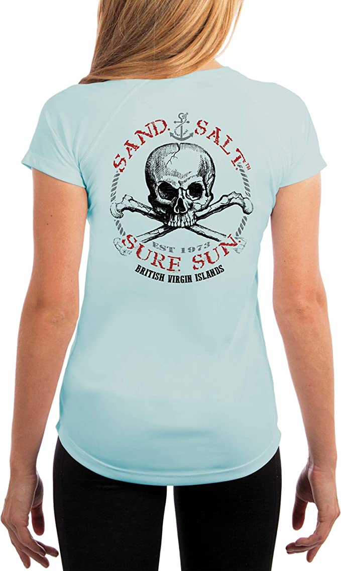 BVI Skull Women/'s UPF 50 UV//Sun Protection Short Sleeve T-Shirt