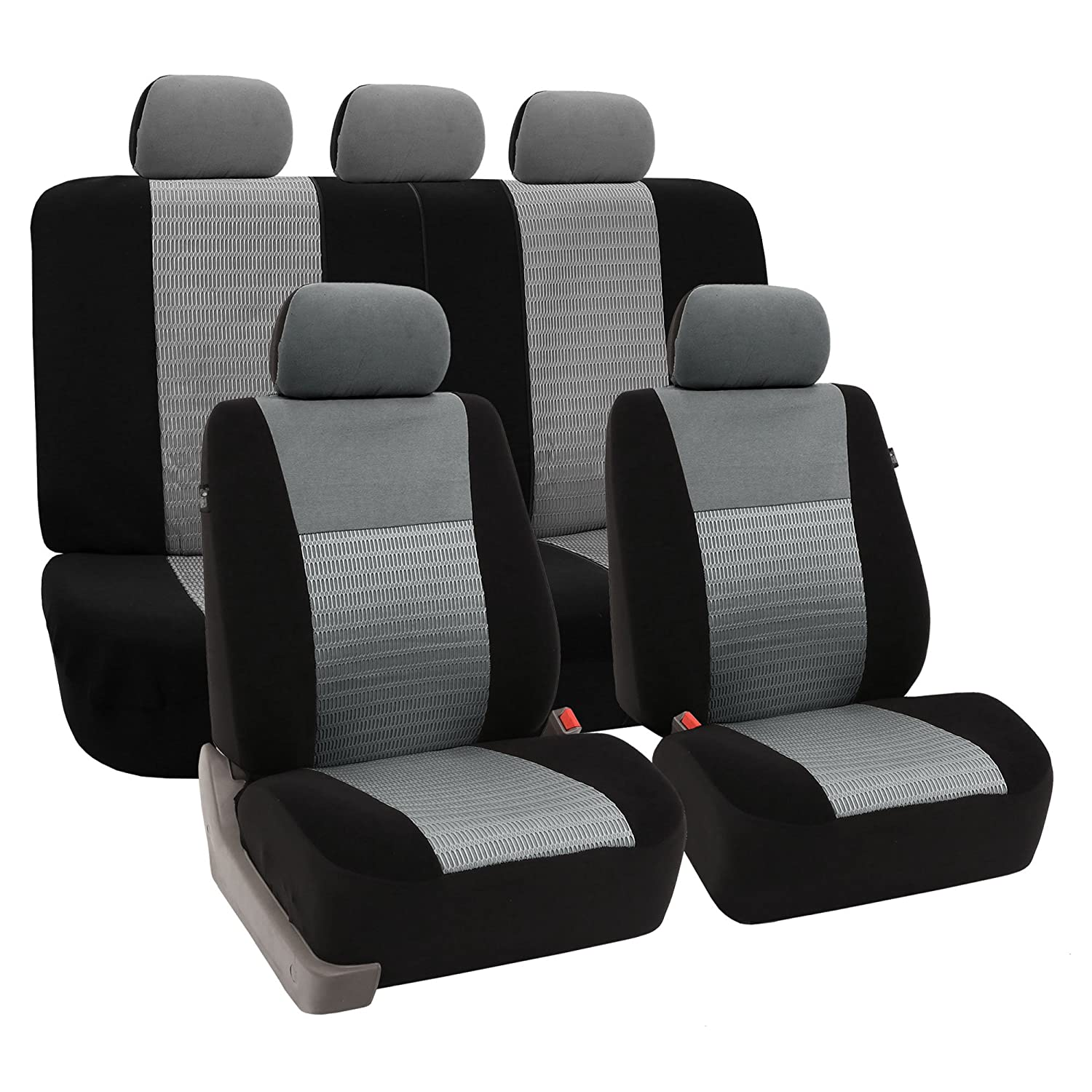 Amazon FH FB060 Trendy Elegance Car Seat Covers Airbag Compatible And Split Bench Gray Black Color Corresponds To Model No