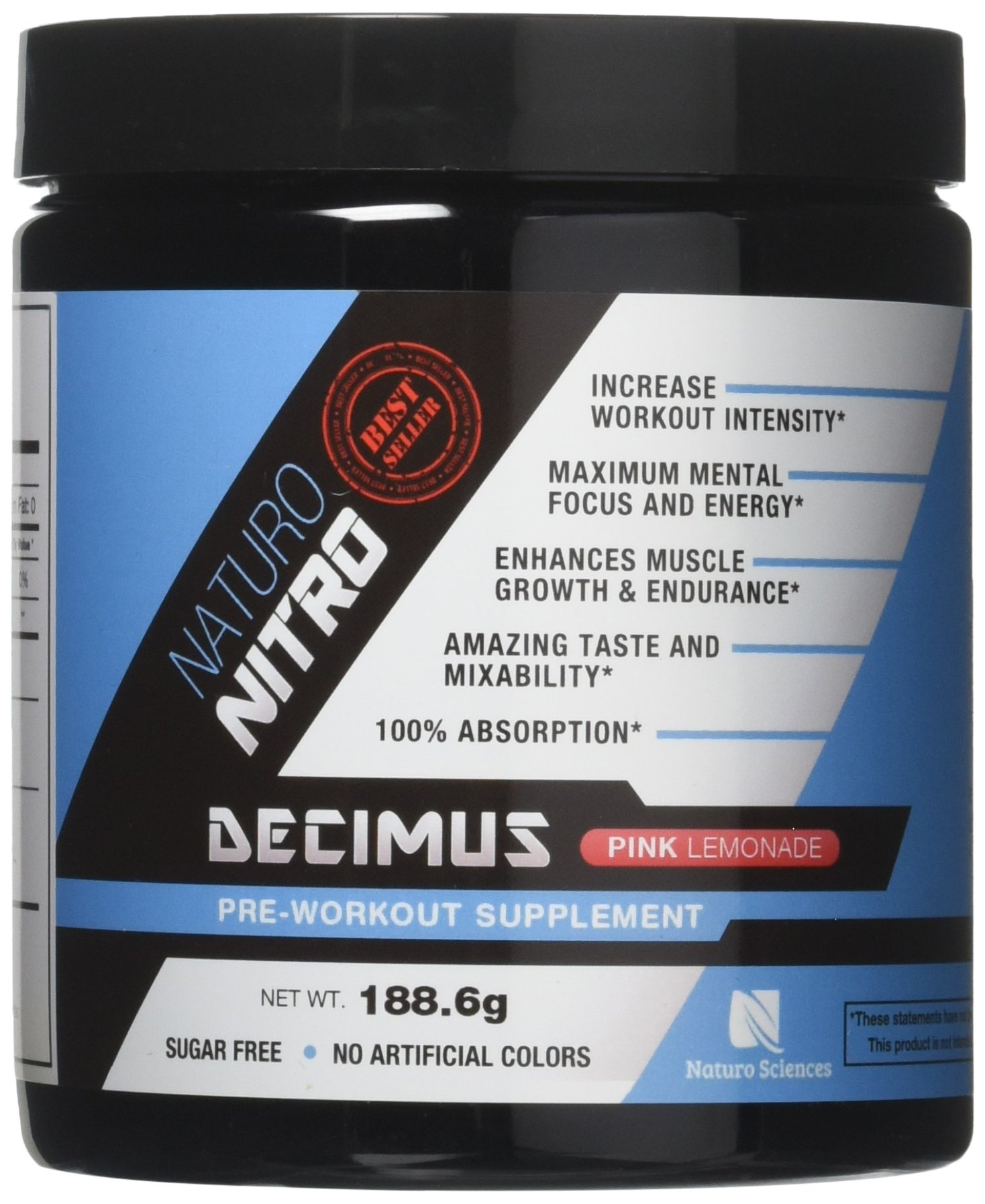 Naturo Nitro Pre Workout Decimus, Best Fat Burning Energy Drink with Caffeine, Nitrix Oxide Boosters and Amino Acids, Powerful Pre-workout for Men and Women, 28 Servings, Pink Lemonade Spark Flavor