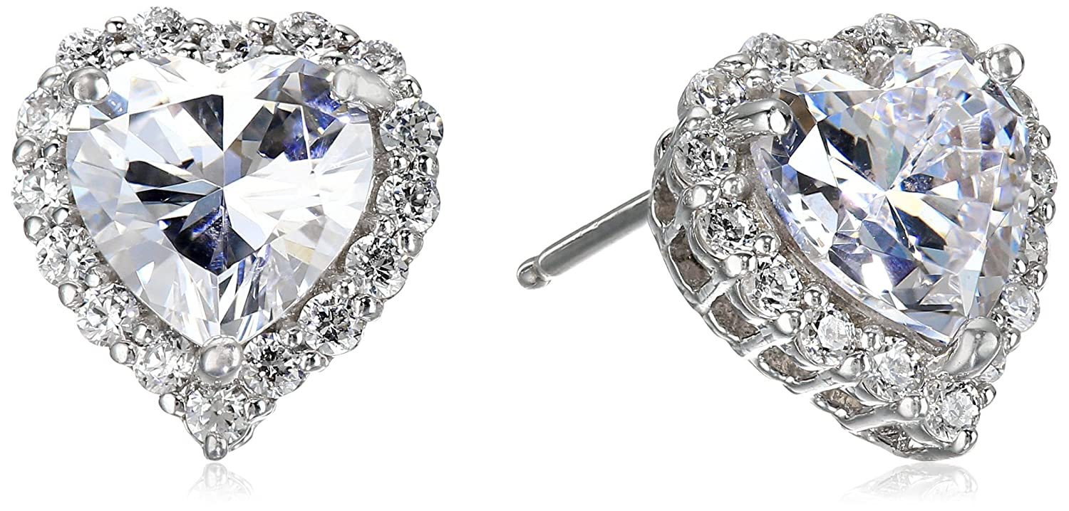 Platinum Plated Sterling Silver Made with Swarovski Zirconia Heart Halo Stud Earrings