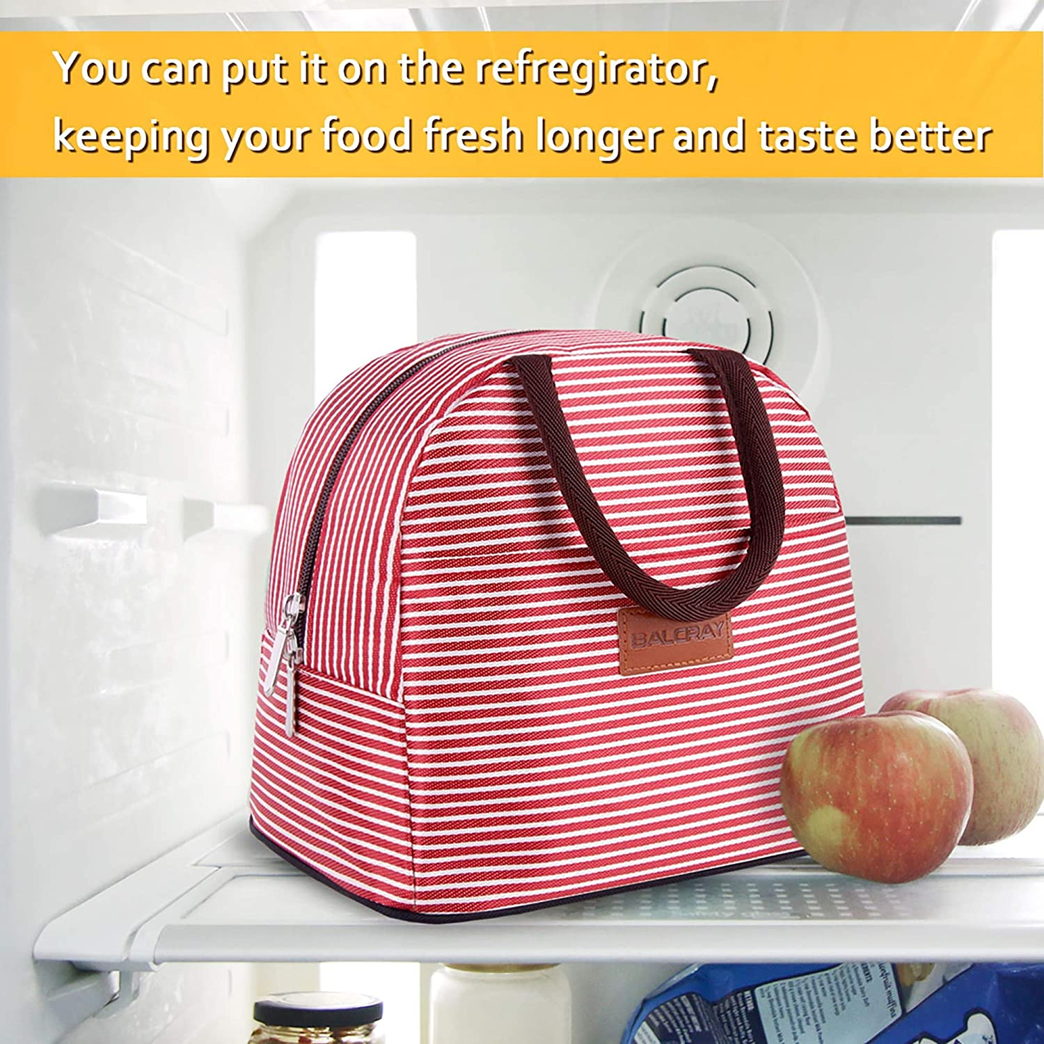 Black and White Stripe G-197L Flower BALORAY Lunch Bag for Women Water-resistant Womens Lunch Bag Lunch Tote Bag Insulated Lunch Bag with Shoulder Strap