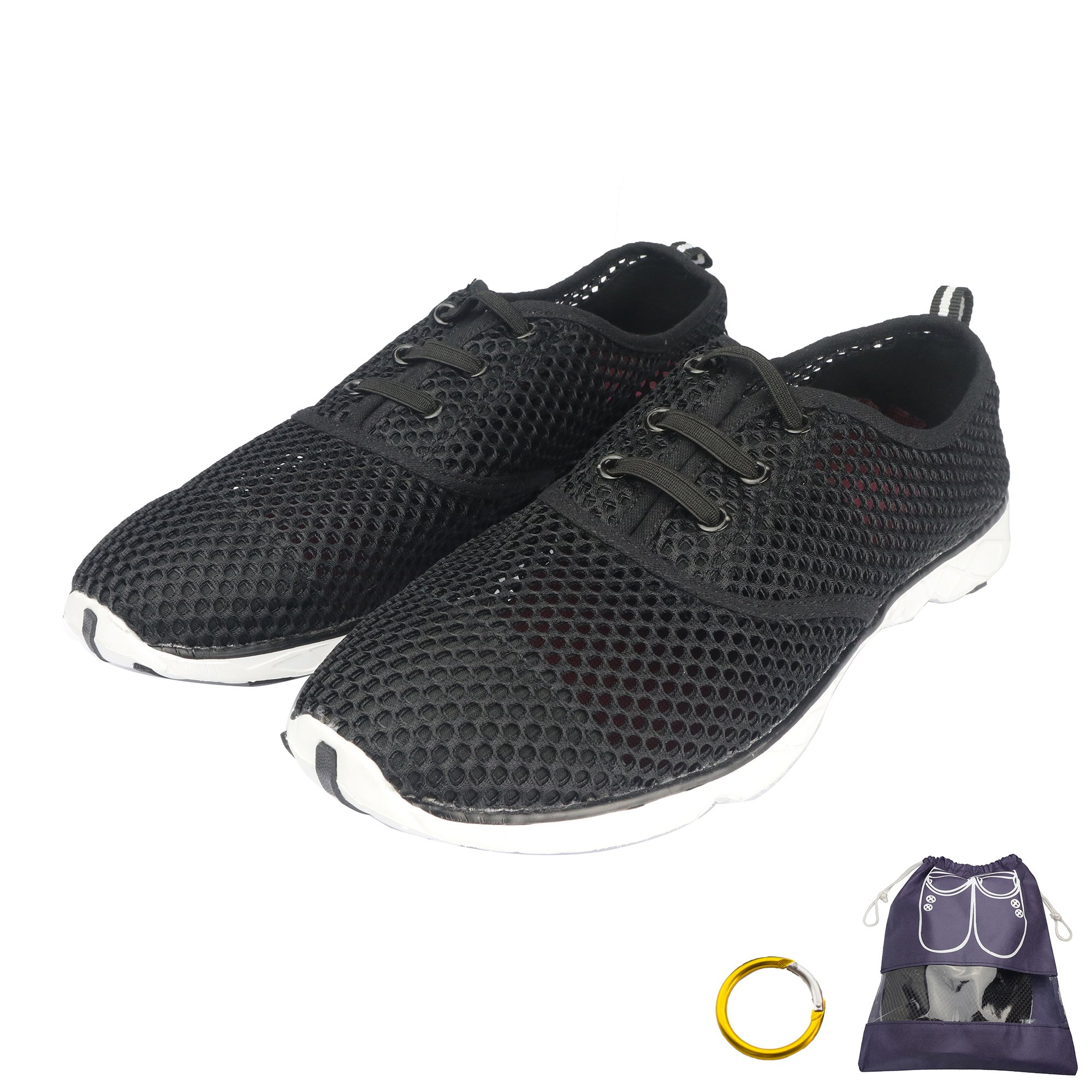 RAHATA Water Shoes Women Quick Dry Mesh Slip On Shoes With Storage Bag Carabiner, Black/10 B(M) Us Women/8 D(M) Us Men