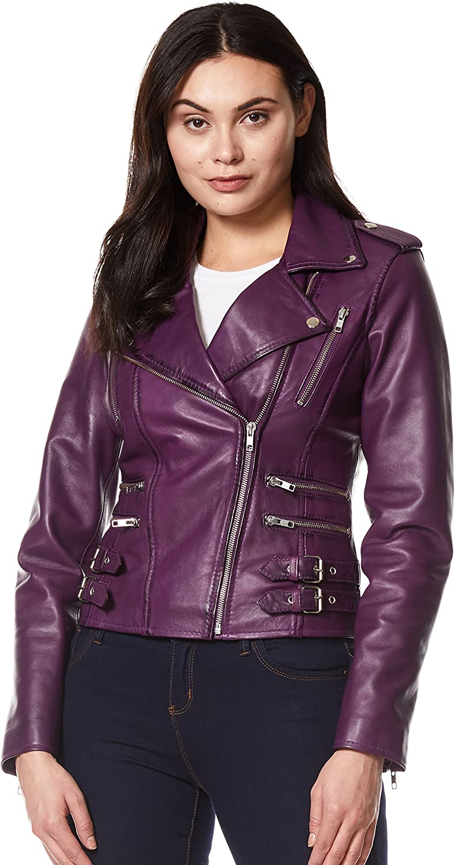 'Mystique' Ladies Purple Biker Style Motorcycle Designer Napa Leather Jacket 7113
