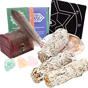 HEXER HAN 7In Sage Smudge Kit, 3PCS White Sage Sticks Incense Kit with Abalone Shell 6In-Feather-3PCS Chakra Crystals-Altar Tarot Cloth 20In for Home Cleansing/Meditation/Smudging Rituals/Aromatherapy
