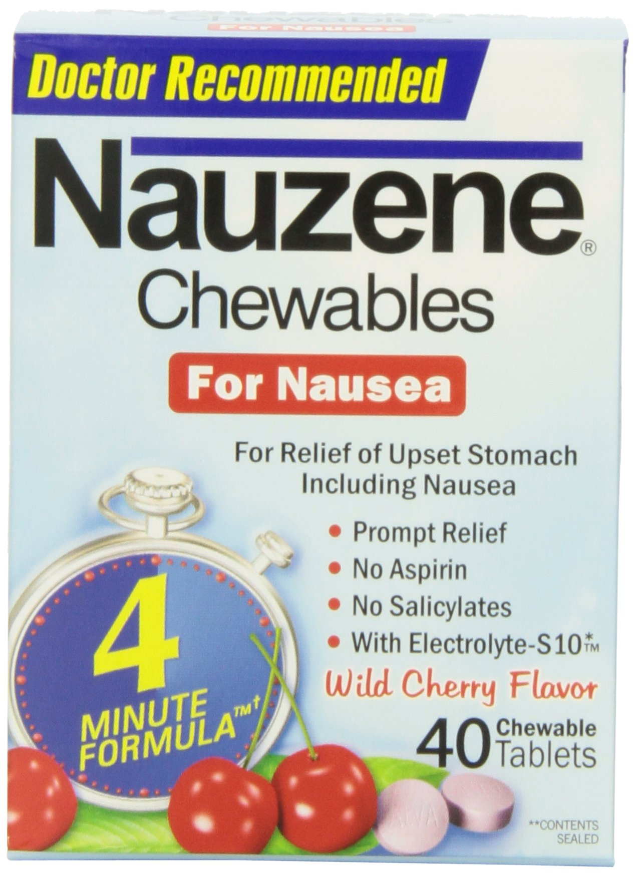 Nauzene For Nausea Relief Chewable Tablets, 40 Count (Pack of 3) by Nauzene