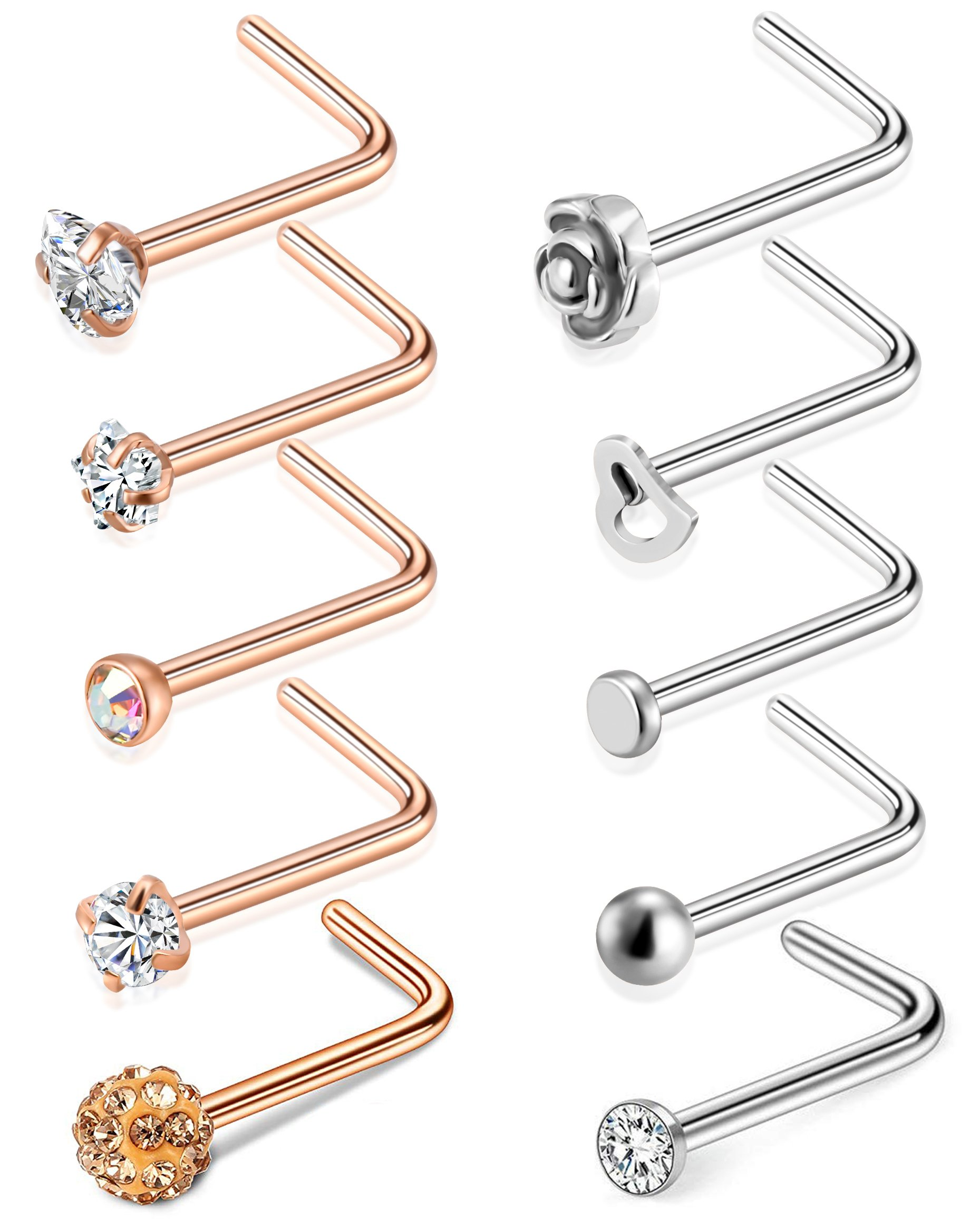 Tornito 20G 8Pcs Stainless Steel L Shaped Nose Ring CZ Nose Stud Retainer Labret Nose Piercing Jewelry (D:10Pcs,Silver Tone&Rose Gold Tone)