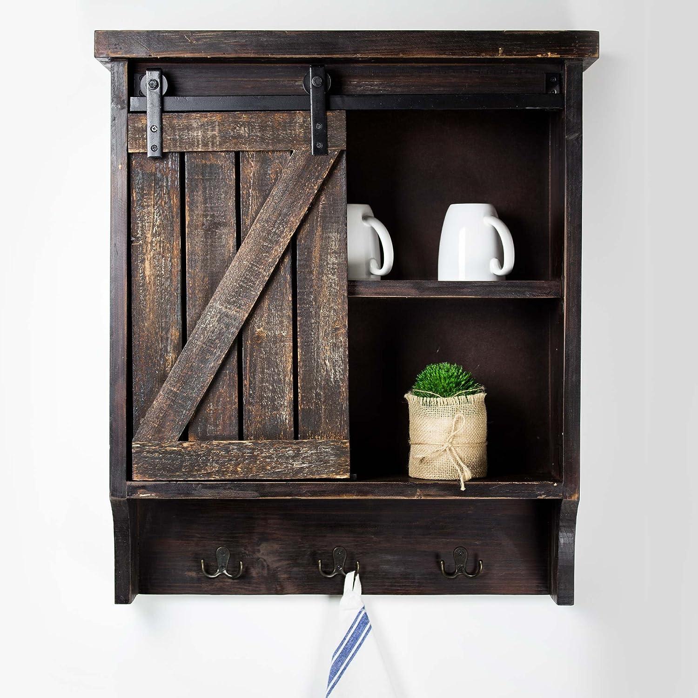 Antique Black Barn Door Wall Cabinet Farmhouse Rustic Country Bathroom Storage