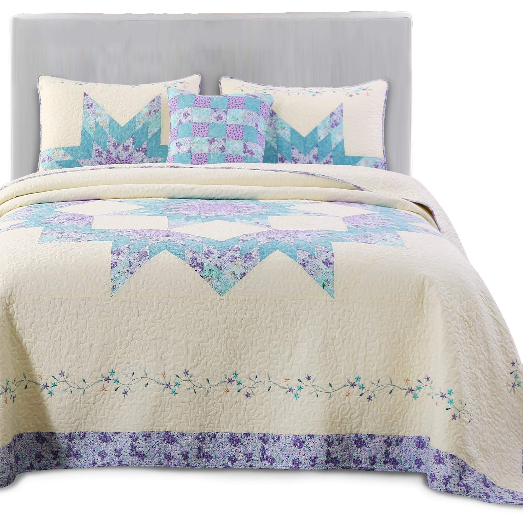 KASENTEX Luxurious Patchwork Bedspread Embroidery Coverlet 100% Cotton Quilt Machine Washable Oversize King