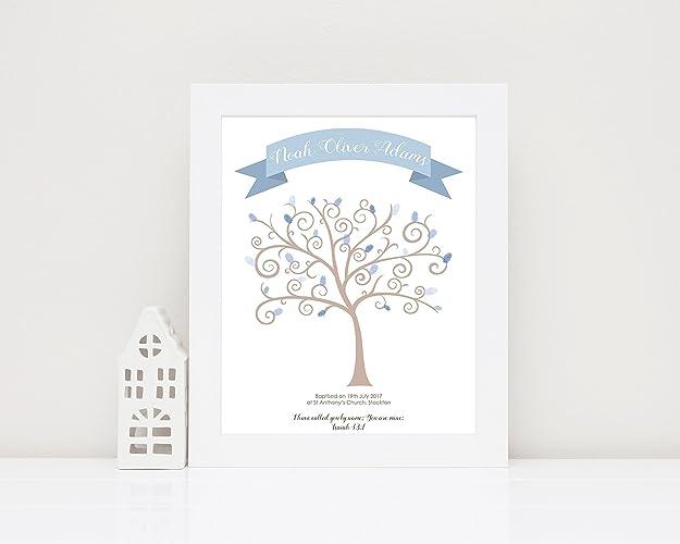 Print UNFRAMED Christening How Much I Love You Fingerprint Tree Baby Shower