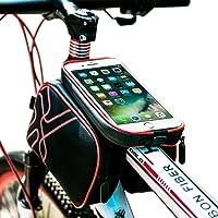 Bolsa de Bicicleta, Bolsa Manillar Bicicleta, YOOFAN Bolsa de Tubo Superior de Marco de Bicicleta, Bolsa de Sillín Doble Bolsa - Con Cubierta Impermeable, Teléfono con Pantalla Táctil Bolsa para iPhone Samsung
