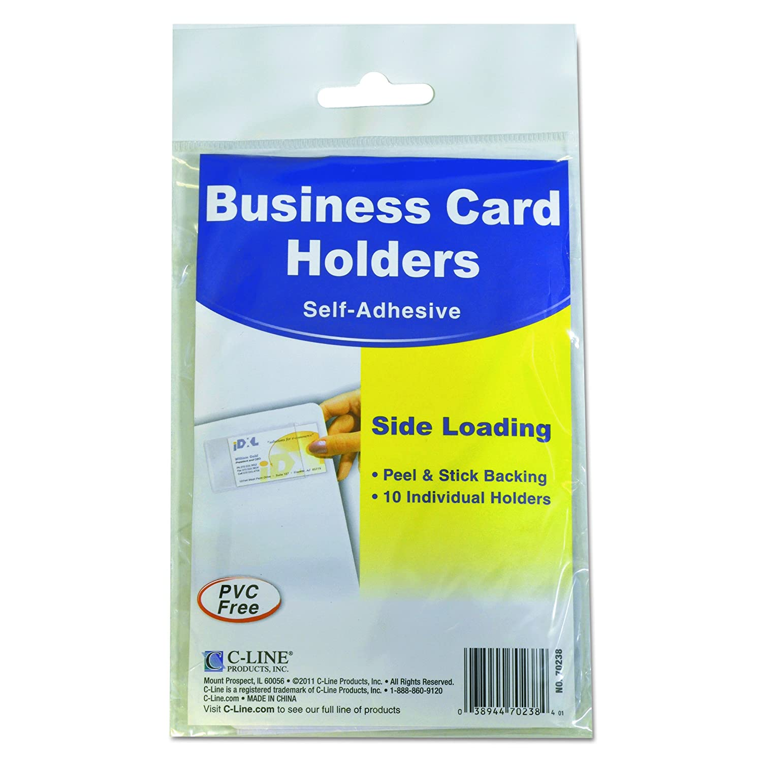 Amazon.com : C-Line 70238 Self-Adhesive Business Card Holders, Side ...