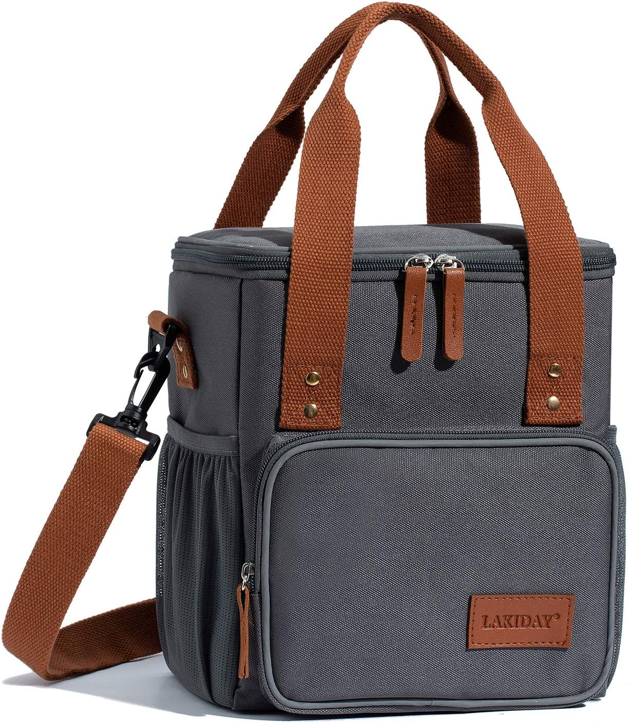 LAKIDAY Insulated Lunch Bag for Women/Men/Kids Reusable Lunch Tote Box Container with Adjustable Shoulder Strap Leakproof for Work/Picnic/Hiking/Beach/Fishing(Dark Gray-2)