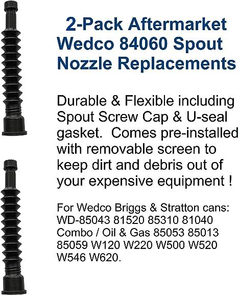 5 Wedco Briggs GAS SPOUTS /& PART KITS W120 W220 W500 W520 W546 W620 FIX YOUR CAN