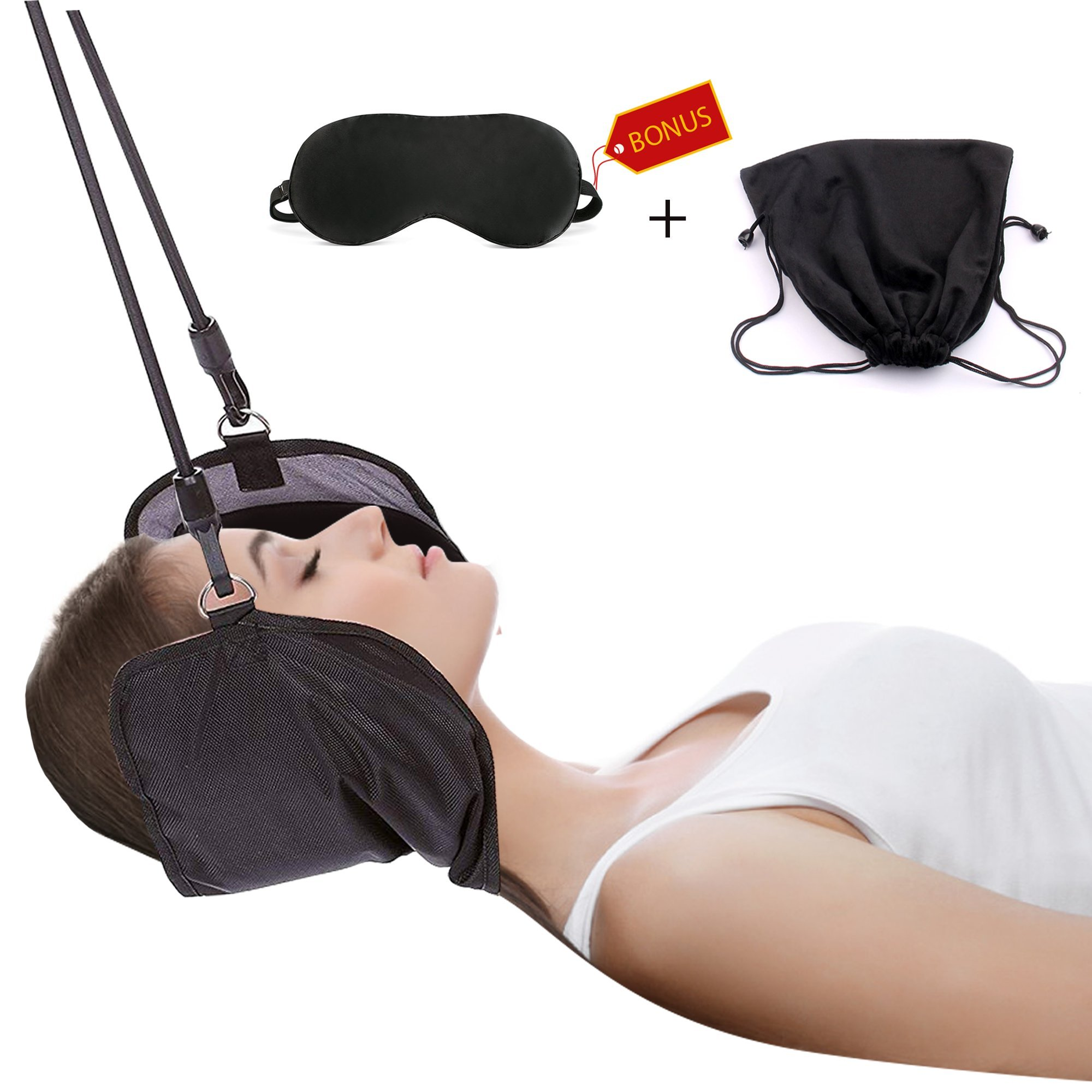 Hammock for Neck by ENXICO - Portable Neck Stretcher Cervical Traction Device | Rapidly Neck Pain Relief | Perfect for Your Stiff Neck and Shoulders + 3D Eye MASK Gift