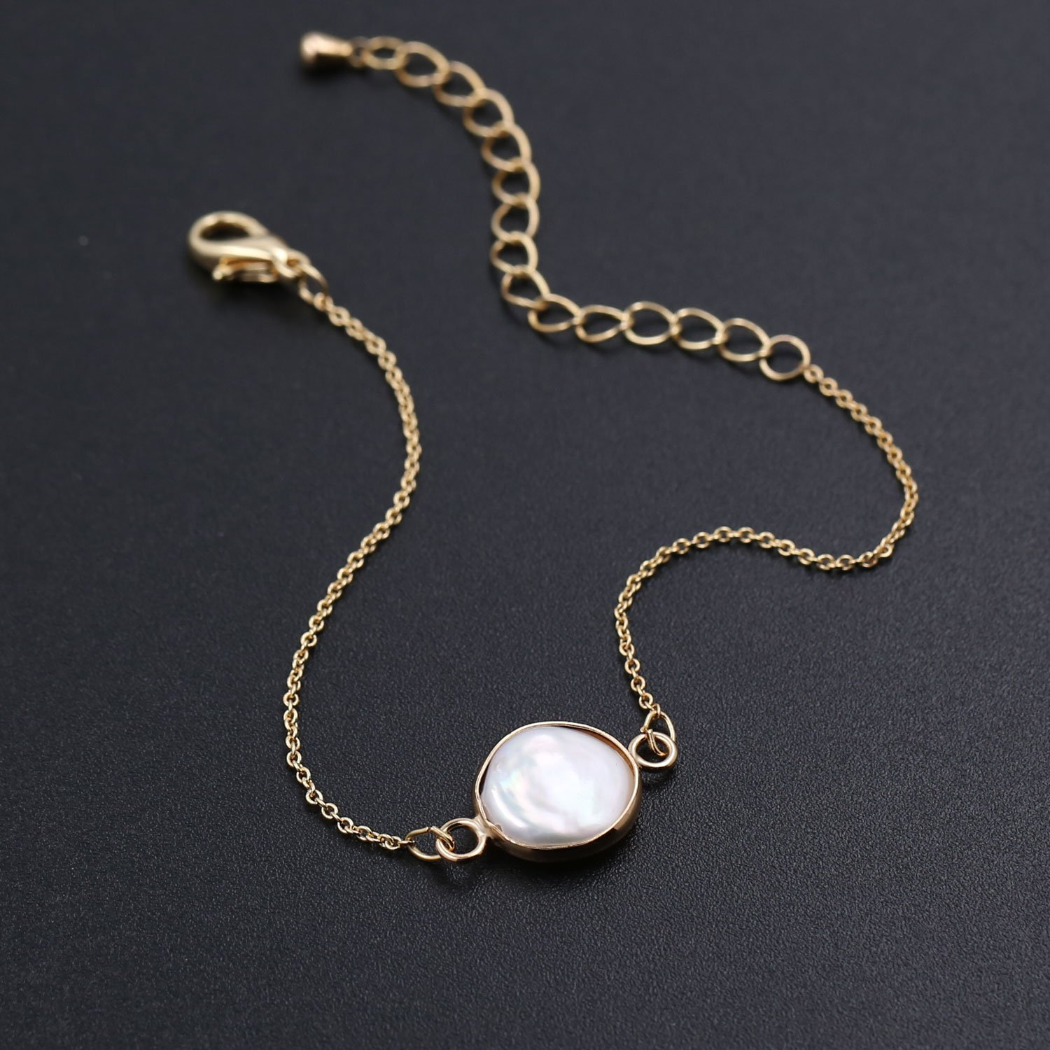 6463634b6 Amazon.com: COZLANE 14K Gold Simple Natural Pearl Shell Bracelet for Women  Gift Pack: Jewelry