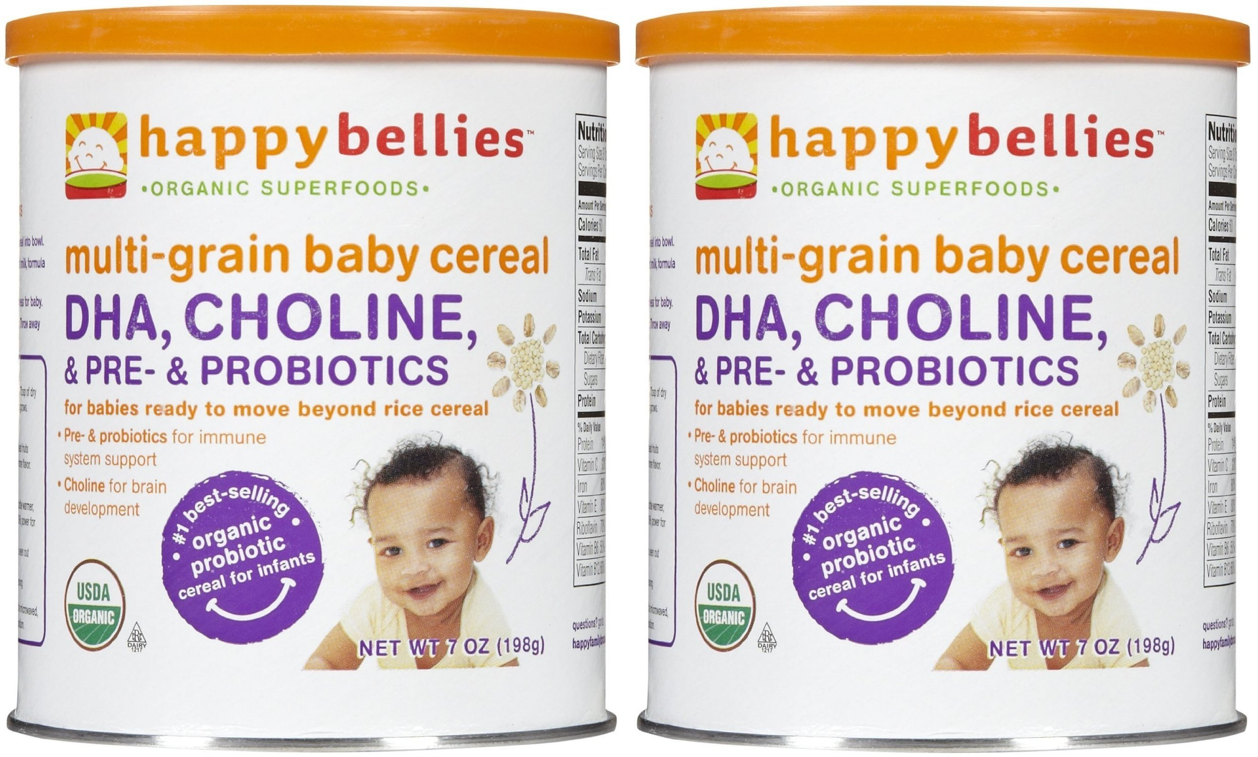 Happy Family happy bellies Baby Cereal - Multigrain - 7 oz (Pack of 2) by Happy Family (Image #1)