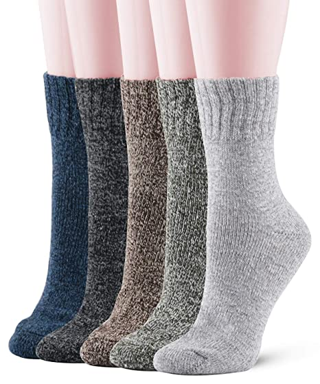 70a754775874 Womens Wool Thick Warm Winter Crew Socks Vintage Funky Cozy Crew Comfort  Socks 5-Pack