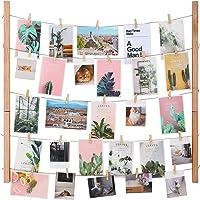 SONGMICS Cadre photo mural avec corde, Porte-photo DIY, Galerie photo, Décoration murale, Barre en pin massif, Couleur chêne clair, RPF61YL