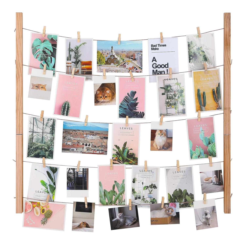 SONGMICS Bilderrahmen Fotowand, DIY Bilderrahmen Collage, Massivholz, Fotowand mit 5 Hanfschnüren und 25 Kleinen Holzklammern, für Memos, Postkarten, Bilder, RPF61YL für Memos