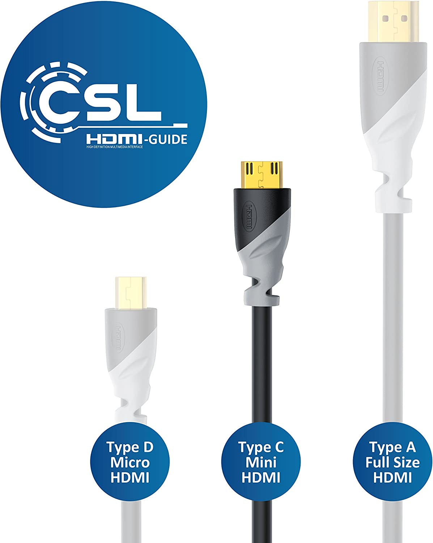 Adapt/é /à Full HD Ultra HD HD Ready 3D 1080 p 2160 p 4k CSL 10m m/ètres c/âble Mini HDMI 1.4a 2.0 High Speed avec Prise en Charge Echt 3D et Ethernet