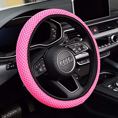 KAFEEK Steering Wheel Cover for Women,Warm in Winter and Cool in Summer, Universal 15 inch, Microfiber Breathable Ice Silk, Anti-Slip, Odorless, Easy Carry, Pink: Automotive