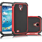 Galaxy S4 Case, Tekcoo(TM) [Tmajor Series] [Red/Black] Shock Absorbing Hybrid Rubber Plastic Impact Defender Rugged Slim Hard Case Cover Shell For Samsung Galaxy S4 S IV I9500 GS4 All Carriers