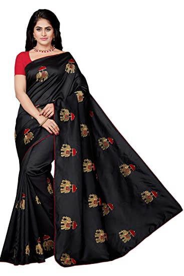 88542cbe675d26 Rani Saahiba Art Silk Embroidered Saree with Blouse Piece (SKR4483 Black)