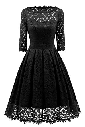 Avril Dress Womens Retro Vintage Style Floral Full Lace Dress 1/2 Sleeve Boat Neck