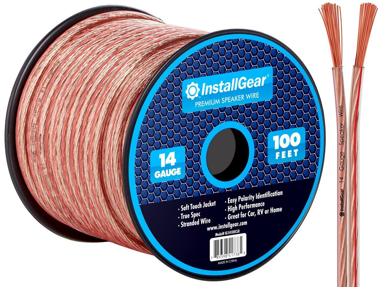 InstallGear 14 Gauge AWG 100ft Speaker Wire Cable - Red/Black IG14100RBK