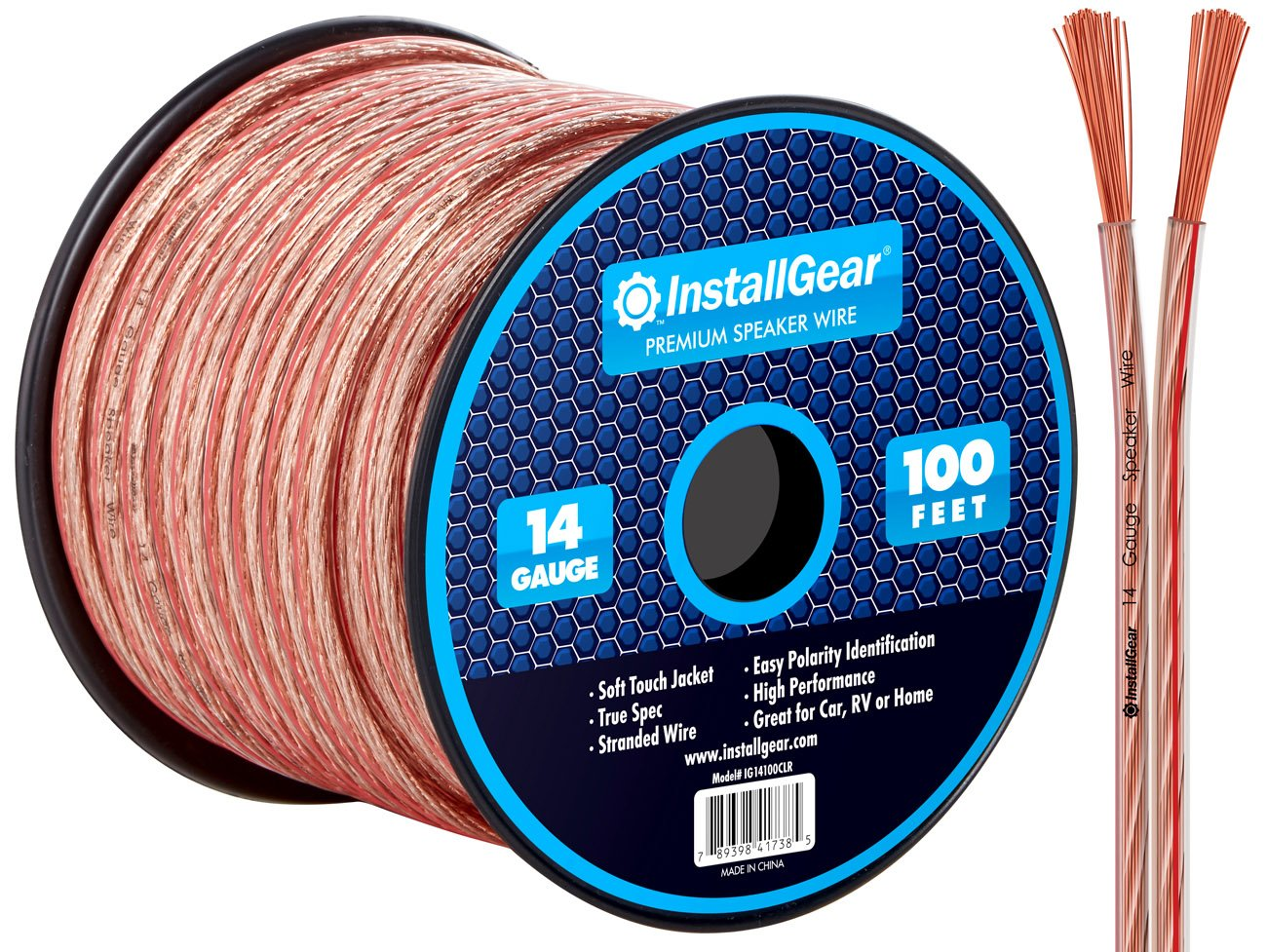 InstallGear 14 Gauge AWG 100ft Speaker Wire Cable - Clear by InstallGear