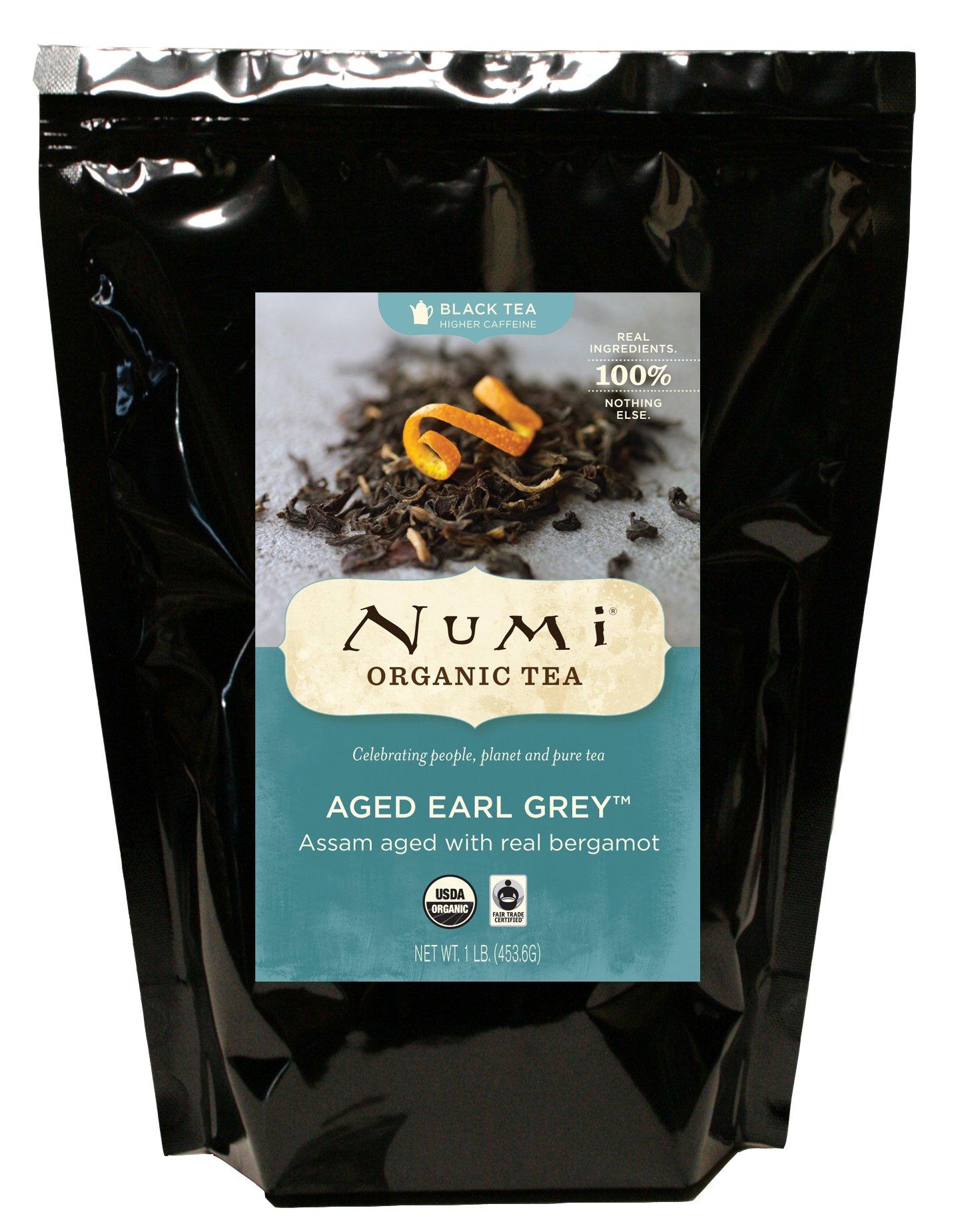 Numi Organic Tea Aged Earl Grey, 16 Ounce Bulk Pouch, Italian Bergamot Blended Loose Leaf Black Tea, Organic Black Tea with Bergamot Aged Together to Naturally Absorb the Citrus Flavor
