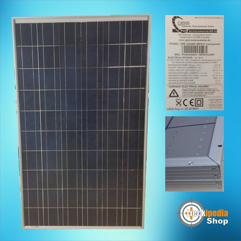 1 Stück 220 Watt Solarmodul Transparent Solarpanel Photovoltaik Polykristallin