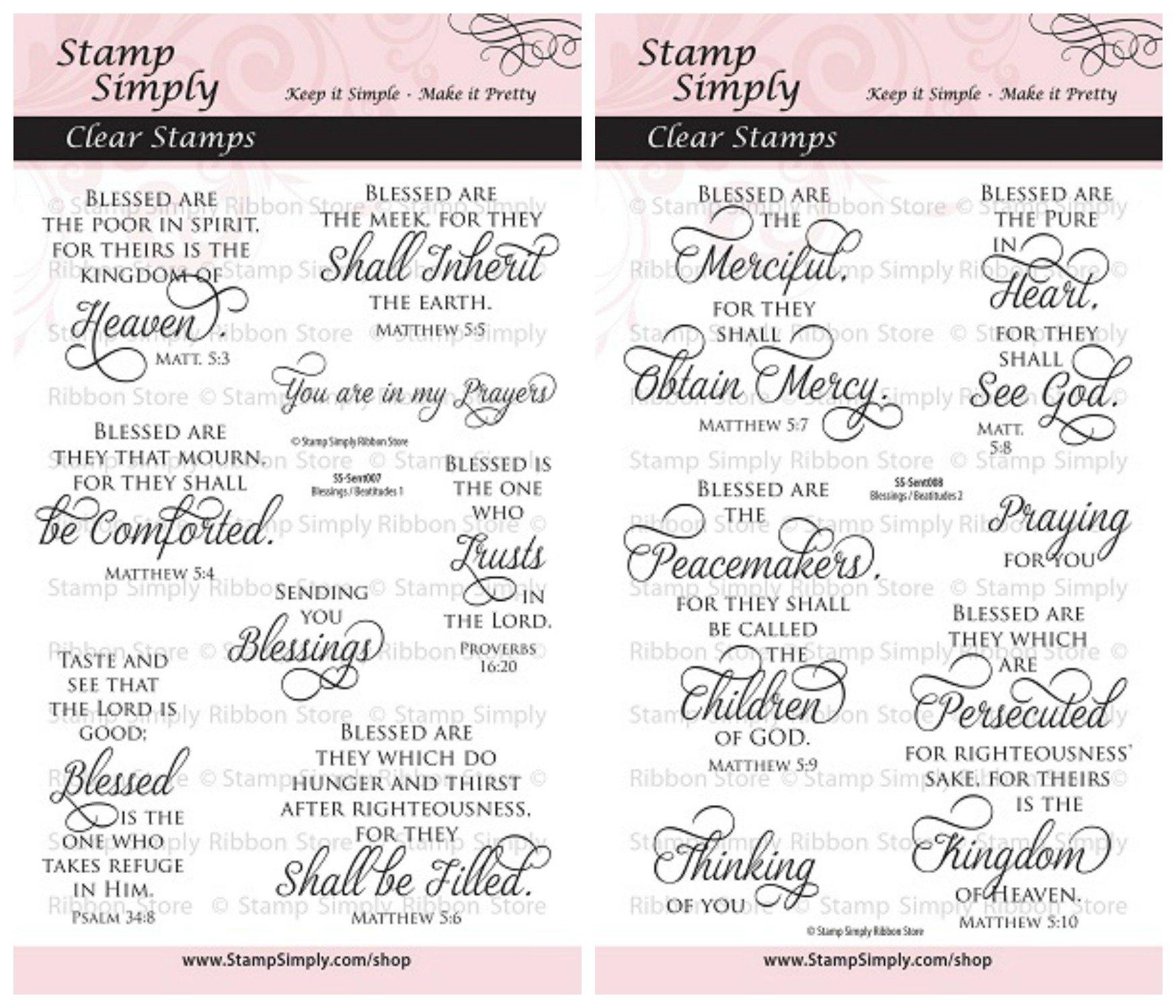 Stamp Simply Clear Stamps Blessings and Beatitudes Christian Religious (2-Pack) 4x6 Inch Sheets - 14 Pieces by Stamp Simply