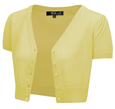6a769c6de69 Short Sleeve Cropped Bolero Cardigan Sweater Vintage Inspired Pinup HB2137- BYL-S Baby Yellow